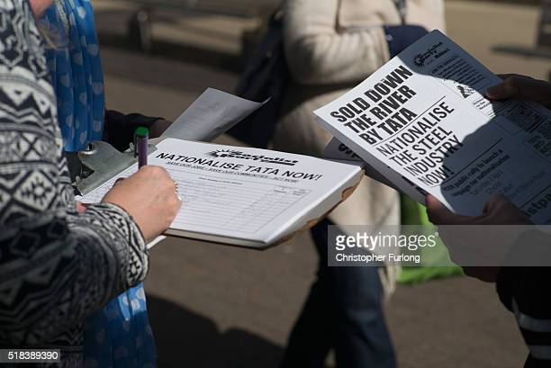 People sign a petition to privatise the tata Steelworks on March 31 2016 in Port Talbot Wales Indian owners Tata Steel has put its British business...