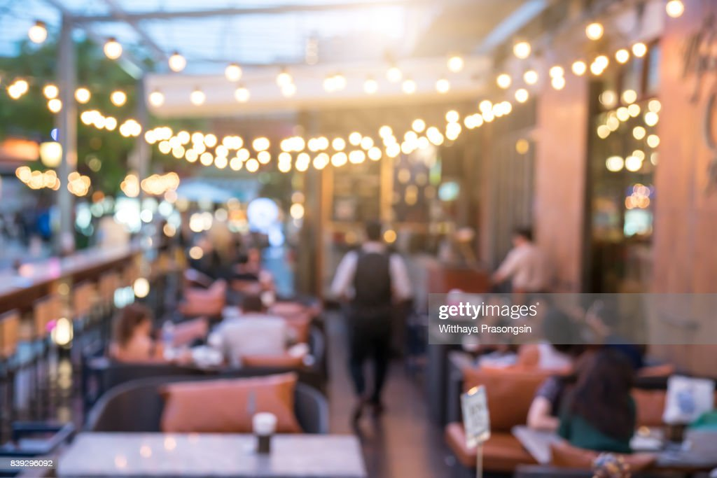 People sit in a blur banquets. : Stock Photo
