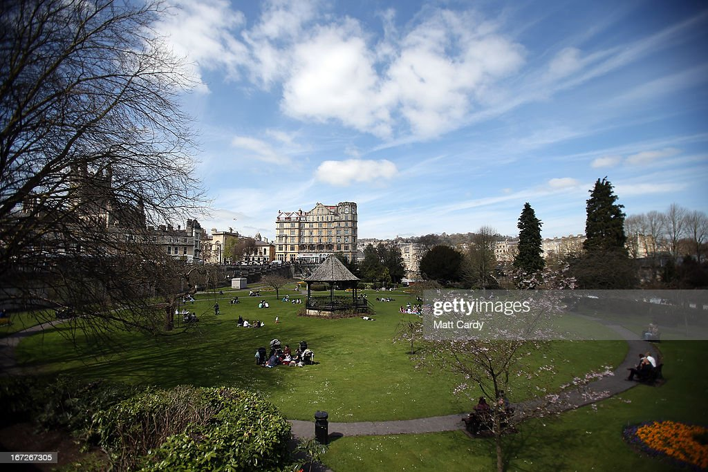 People sit in the grass in the spring sunshine Parade Gardens on April 23, 2013 in Bath, England. After one of the coldest winters on record with a late start to spring, many parts of the UK are finally enjoying warmer temperatures and sunny spells.