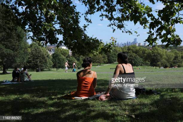 People sit in the grass in the sunshine on Primrose Hill in Regent's Park with the towers of central London in the background on August 22 2019