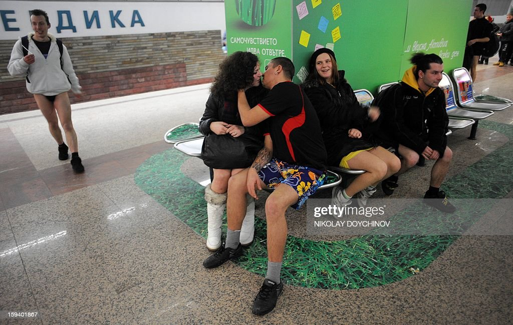 People sit in underwear in the Sofia City subway as they take part in the 2013 No Pants Subway Ride on January 13, 2013 in the Bulgarian capital. The No Pants Subway Ride, in its 12th year, still surprises passengers on public transit and is spreading to many cities across the globe.