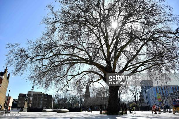 People sit on a bench beneath a tree in Windrush Square in Brixton south London on March 24 2020 after Britain's government ordered a lockdown to...