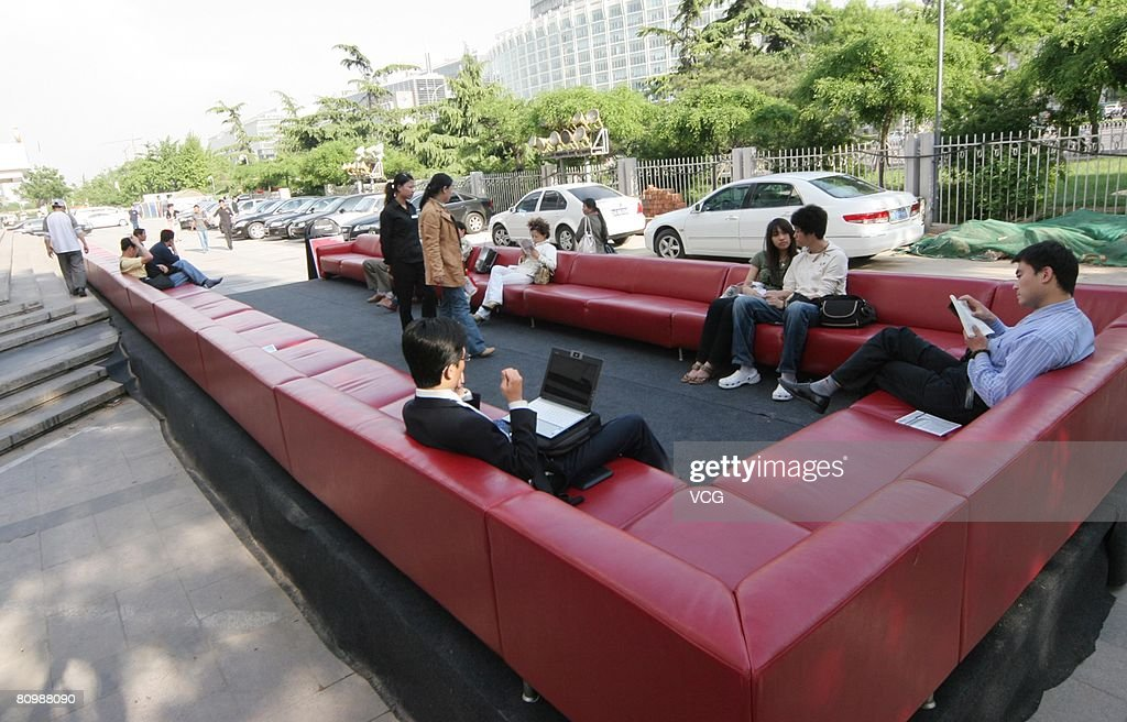 Good People Sit On The Worldu0027s Longest Sofa In Front Of A Shopping Mall In On May