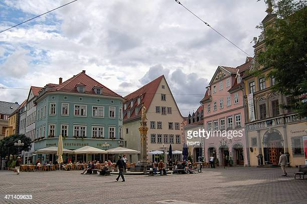 people sitting a restaurant at erfurt city (thuringia - germany) - erfurt stock pictures, royalty-free photos & images