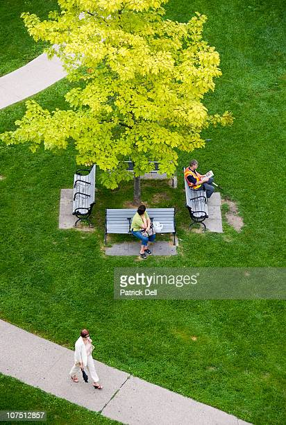 People sitting and one person walking through a grassy park. Shot from above, the photo gives a bird's-eye-view of the park and benches surrounding a...