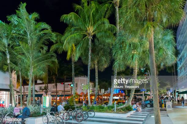 people sitting and walking during a christmas season night in lincoln road, miami beach, florida, usa. - lincoln road stock pictures, royalty-free photos & images