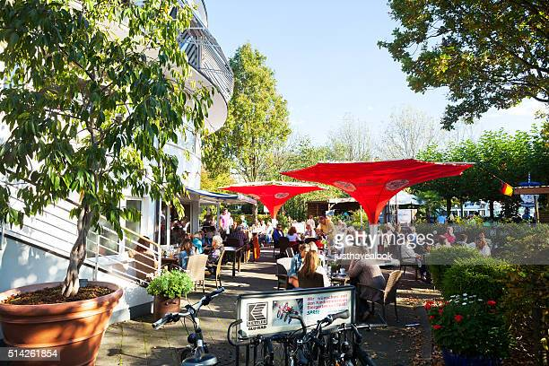 People sitting in beer garden Wasserbahnhof