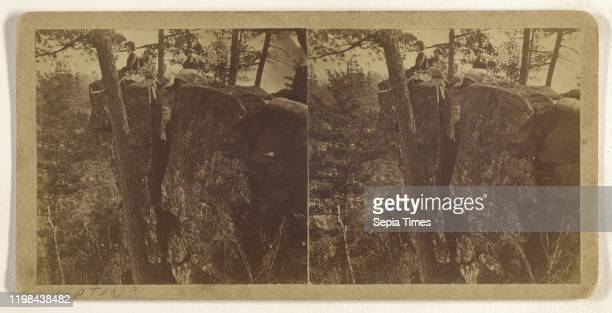 People sitting on large rocks in woods Attributed to B F Upton 1865 1875 Albumen silver print