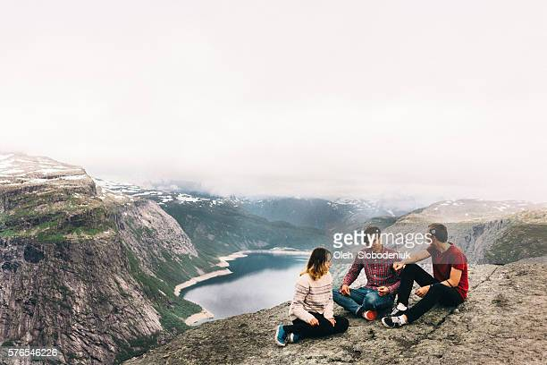 People sitting on the Trolltunga