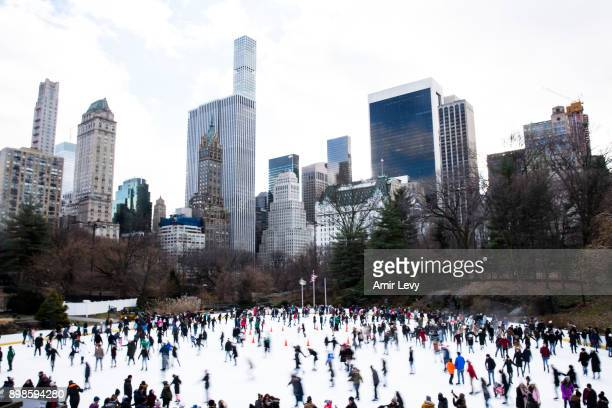 People skate at Central Park ice rink on Christmas day on December 25, 2017 in New York City. Security in New York is on alert as thousand of...
