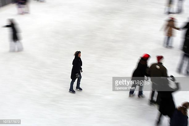 People skate at the ice rink at Rockefeller Center on December 7 2010 in New York City New York is in the midst of the holiday tourism and shopping...