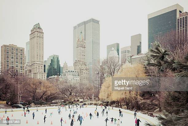 People skating on Wollman rink in Central Park