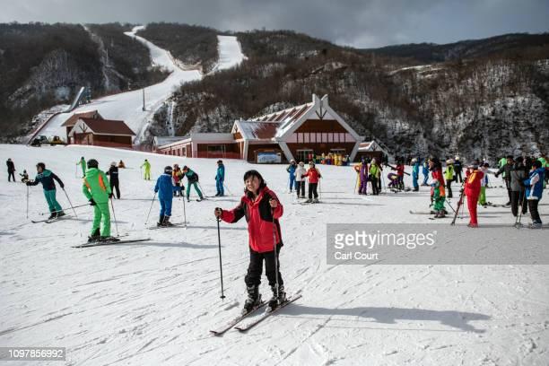People ski on a lower slope at Masikryong Ski Resort on February 05 2019 near Wonsan North Korea US President Donald Trump and North Korean Supreme...