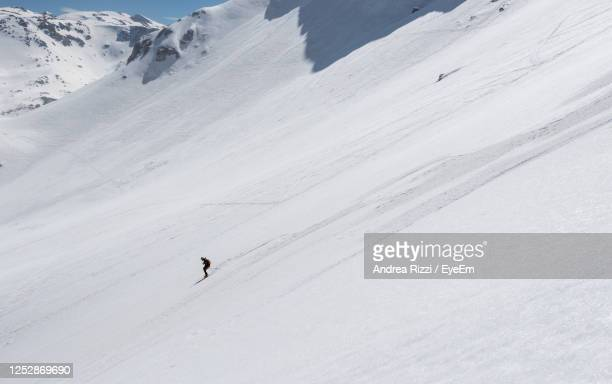 people skiing on snow covered land - andrea rizzi stockfoto's en -beelden