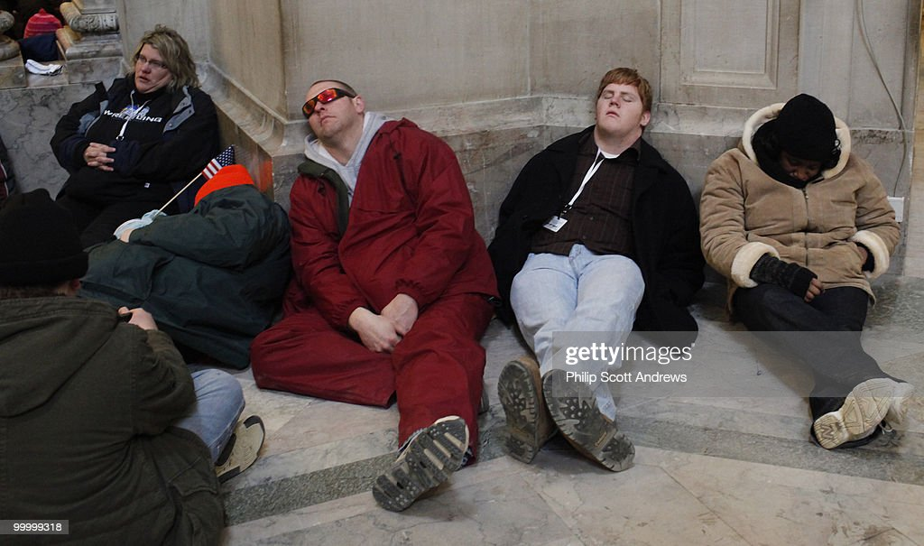 People sleep at the Natural History Museum after spending the day in sub-zero temperatures on the National Mall after the 56th Inauguration on January 20, 2009.