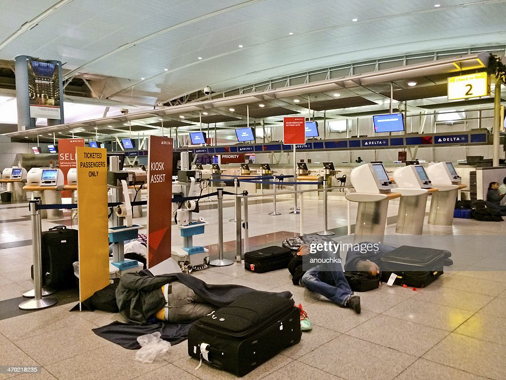 People Sleeping On The Floor At Jfk Airport New York High