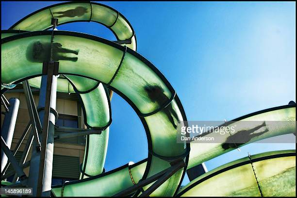 People sliding in water tubes at the Water Park of America is inside the Radisson Hotel next to the Mall of America in Bloomington Minnesota