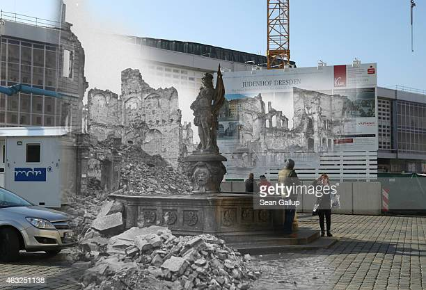 This digital composite image shows the ruins of buildings around Neumarkt square and a fountain with a statue in 1946 still wrecked from the Allied...