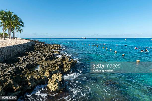 People snorkeling at Cozumel Chankanaab National Park on Cozumel Island near Cancun in the state of Quintana Roo Yucatan Peninsula Mexico