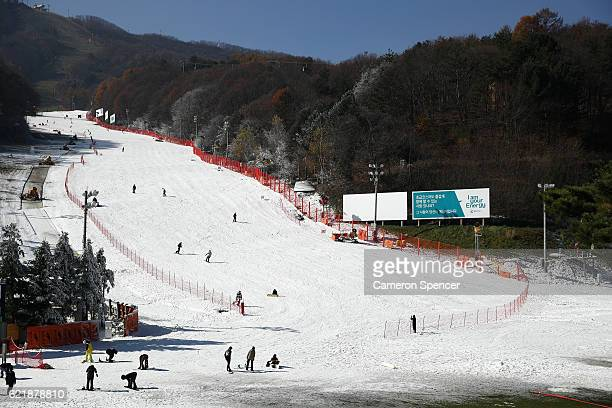 People snowboard at Bokwang Snow Park P C the venue for snowboard and freestyle skiing ahead of the 2018 PyeongChang Winter Olympics on November 9...