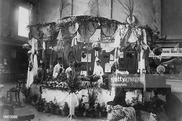 1898 Northampton Northamptonshire England Xmas bazaar at St Giles Church Room