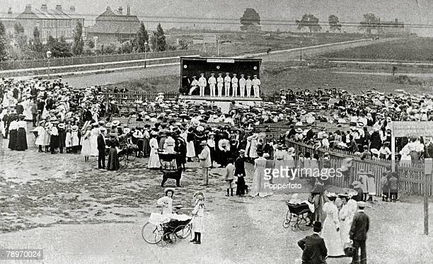 1906 Northampton Northamptonshire England Crowds gather to watch an open air show in Abington Park Northampton