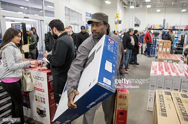 People some waiting in line since 3am to get deals on Black Friday shop at Best Buy on November 25 2016 in Highland Illinois The day after...