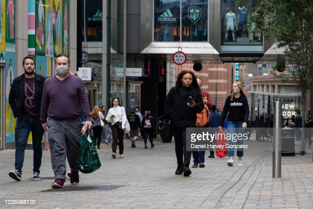 People, some with shopping bags, out and about in the city centre on 4th September, 2021 in Leeds, United Kingdom. Despite a rise in footfall across...