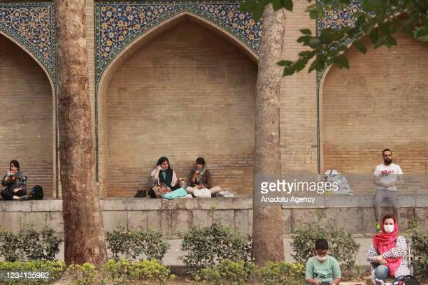 People spend time together despite of the rising number of the coronavirus cases in Tehran, Iran on July 23, 2021.