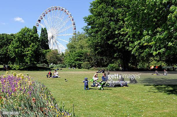 people spending afternoon in hyde park london - hyde park london stock photos and pictures