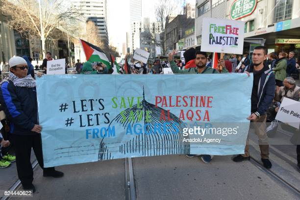 People stage a demonstration against Israel's violations and restrictions on Al Aqsa Mosque Compound in Melbourne Australia on June 30 2017...