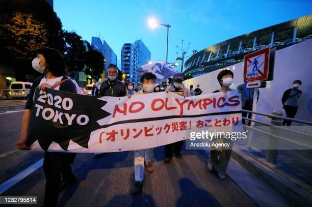 People stage a demonstration as they demand Tokyo Olympics to cancelled due to coronavirus pandemic in Tokyo, Japan on May 9, 2021.