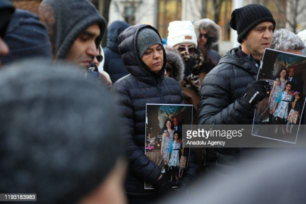 People stage a demonstration for the victims of a plane crash in Iran and against the Iranian government in Vancouver, B.C., Canada on January 11,...