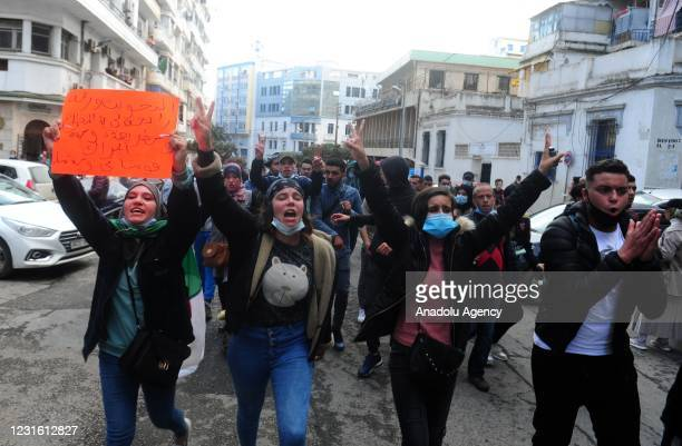 People stage a demonstration in Algiers after President of Algeria Abdelmadjid Tebboune dissolved the parliament and called for an early legislative...