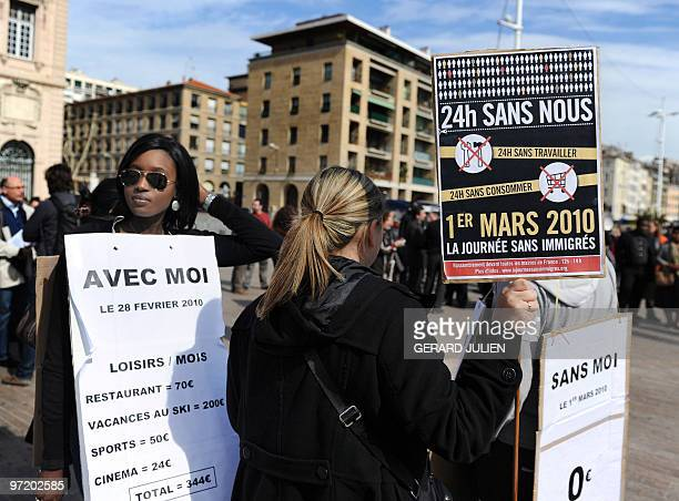 "People stage a demonstration in front of the Marseille City Hall on a ""Day without immigrants"" on March 1, 2010. Peggy Derder, Nadir Dendoune and..."