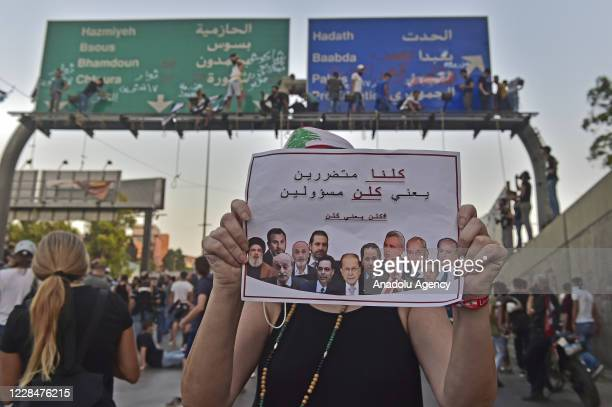 People stage a demonstration outside Baabda Palace on the 40th day of the explosion in port of Beirut, demanding justice over the explosion, in...