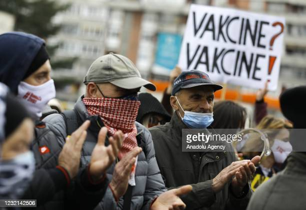 People stage a protest against Bosnian government's incompetence to fight against coronavirus pandemic, in Sarajevo, Bosnia and Herzegovina on April...