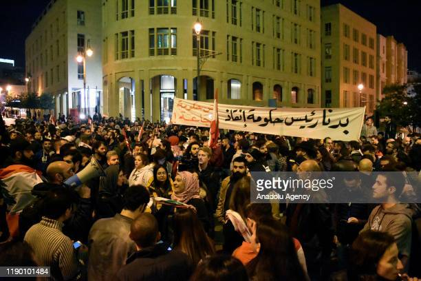 People stage a protest against Hassan Diab former Education Ministerturned Prime Minister Hassad Diab tasked by President Michel Aoun to form a new...