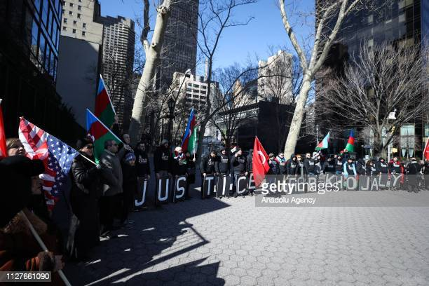 People stage a protest against Khojaly Massacre within the 27th anniversary of 'Khojaly Massacre' which happened in February 1992 when hundreds of...