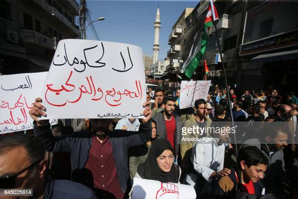People stage a protest against price rises on basic goods due to new sales tax and austerity in Amman Jordan on February 24 2017