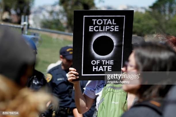 People stage a protest against US President Donald Trump racism and white supremacist racist organization Ku Klux Klan in San Francisco CA United...