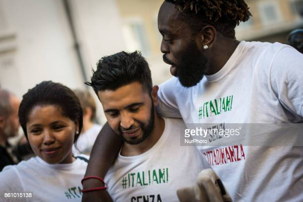 People stage a protest in support of the IUS SOLI law pro citizenship for children of migrants, outside the Italian Parliament on 13 October 2017 in...