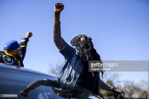 People stage a protest on Hiawatha Avenue while calling for justice for George Floyd on April 1, 2021 in Minneapolis, Minnesota. The Derek Chauvin...