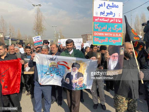 People stage an anti-U.S. Rally after assassination of the Iranian Revolutionary Guards' Quds Force commander Qasem Soleimani on January 3, 2020 in...