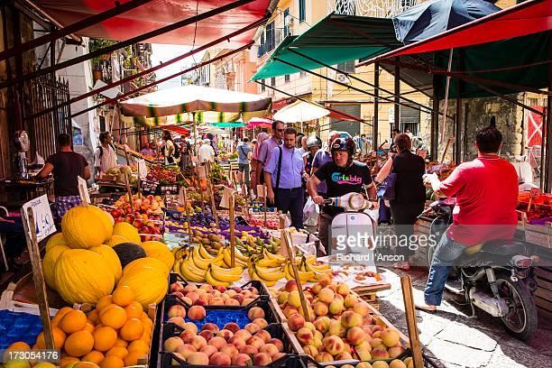 People & stalls at Capo Market