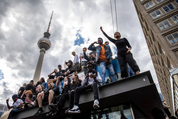 DEU: Demonstrators Across Germany Pay Tribute To George Floyd