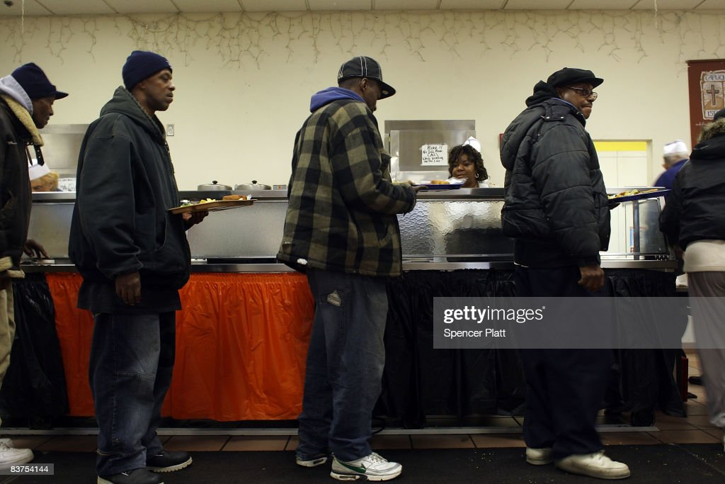 People Stand In Line At The Capuchin Soup Kitchen November 19 2008 In  Detroit Michigan An