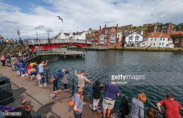 People stand in the harbour taking part in the traditional pastime of crabbing during the annual Whitby Regatta on August 10 2019 in Whitby England...