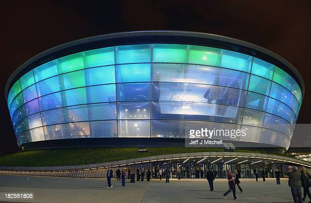 People stand outside as Rod Stewart performs at SSE Hydro Scotland's newest arena and concert venue on September 30 2013 in Glasgow Scotland Designed...