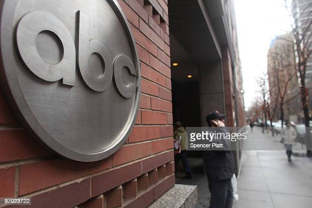 People stand outside of the ABC headquarters on February 24 2010 in New York New York ABC has announced that the television news division plans to...